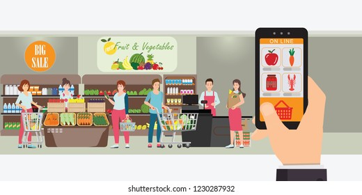 Hand holding smartphone with shopping app, Interior store inside, Grocery delivery internet order, Online supermarket concept Vector illustration.
