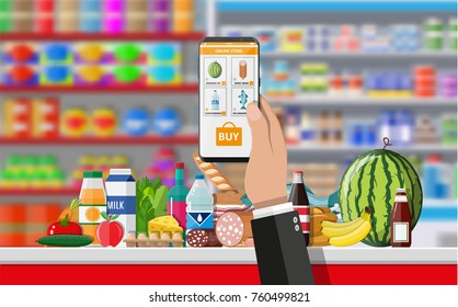Hand holding smartphone with shopping app. Grocery delivery. Internet order. Online supermaket. Interior store inside. Drinks, food, fruits, dairy products. Vector illustration in flat style
