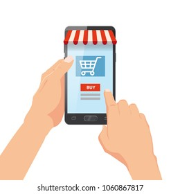 Hand holding smartphone with shopping bag. Internet order. Online supermaket. Vector illustration in cartoon style