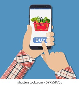 Hand holding smartphone with shopping bag full with different healthy food. Grocery delivery. Internet order. Online supermaket. Vector illustration in flat style