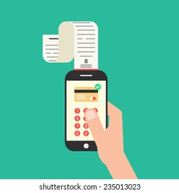 hand holding smartphone with shopping check. concept of mobile payments, e-commerce and apple pay for service. isolated on green background. flat style trendy modern design vector illustration