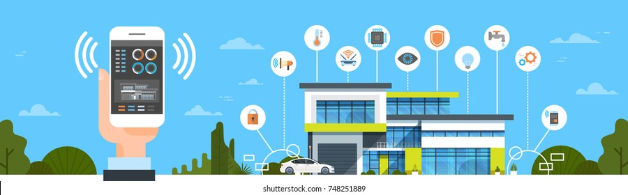 Hand Holding Smartphone With Smart Home System Control Interface Modern House Automation Concept Horizontal Banner Vector Illustration