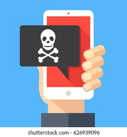 Hand holding smartphone with speech bubble and skull and crossbones on screen. Threats, mobile malware, spam messages, fraud, sms spam concepts. Modern flat design vector illustration