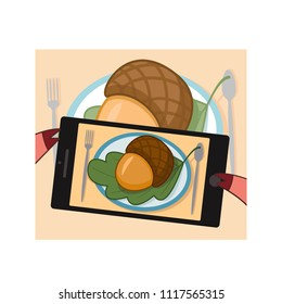 Hand holding smartphone and taking food photography. Vector 10 eps.