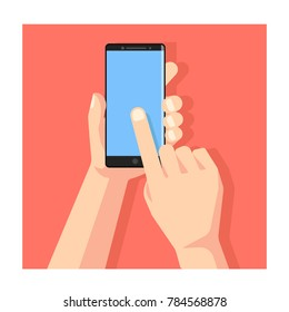 Hand holding smartphone template vector. Touching smartphone scr