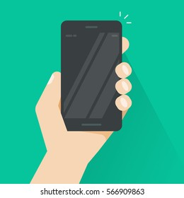 Hand holding smartphone vector, black mobile phone in hand illustration isolated on color background with empty screen, flat style