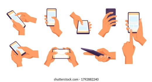 Hand holding smartphone. Vector icon of people hold smartphone or using touch gestures for mobile phone while reading. Press and point, pich and unpinch, rotate and swipe symbol. Digital device