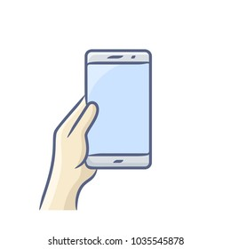 Hand holding smartphone vector illustration. Touch screen gesture icon for smartphone. Vector icon for a mobile app user interface or manual.