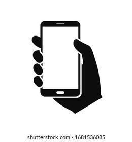 Hand holding smartphone. Vector illustration icon