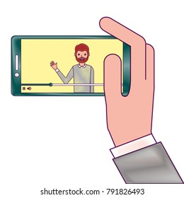 hand holding smartphone with video blogger on screen
