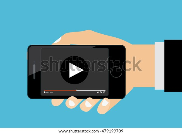 Hand Holding Smartphone Video Player On Stock Vector