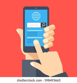 Hand holding smartphone with web browser and search bar on screen. Finger touch screen. Mobile internet usage, search on the internet concept for website, web banner. Flat design vector illustration