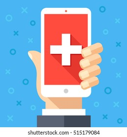Hand holding smartphone with white cross on red background on screen. Emergency, mobile healthcare technology, online medicine, medical app, online doctor help. Modern flat design vector illustration