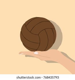 Hand holding a soccer ball, vector illustration design. Hands collection.