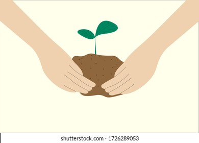 Hand holding soil and young plant. Planting and save the world concept vector.