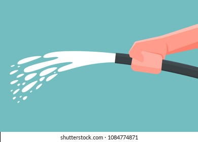 Hand holding spray water hose. Vector illustration