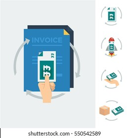 A hand holding a stack of british pound bank notes with three arrows pointing in a circle and invoices in the background and alternative icons vector illustration