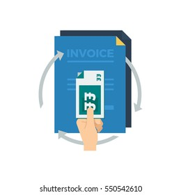 A hand holding a stack of british pound bank notes with three arrows pointing in a circle and invoices in the background vector illustration