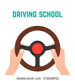 hand holding steering wheel. concept of trip, highway, guide, equipment, rudder, handlebar, training in driving school. flat style trendy modern logo design vector illustration