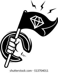 Hand holding stick with black flag diamond on it