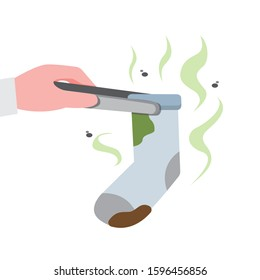 hand holding stinky sock, bad smell and dirty socks in flat illustration vector