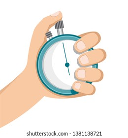 hand holding a stopwatch. body part on white background