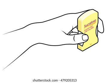 Hand holding a sweetener tablet dispenser of sucralose.