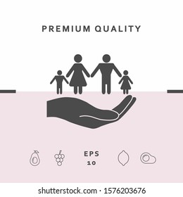 Hand holding a symbol of family. Family protect icon. Graphic elements for your design