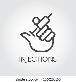 Hand holding syringe with injection line icon. Medical symbol, vaccination, treatment, cosmetology, botox concept. Web button or logo for websites and mobile apps. Vector illustration