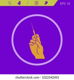 Hand holding a syringe vector icon on a violet background. Flat design style
