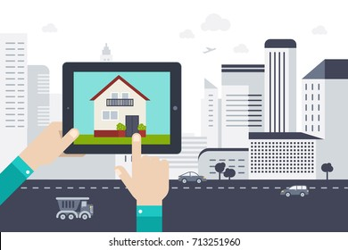 Hand holding tablet with mobile application search home. Urban landscape. Vector illustration