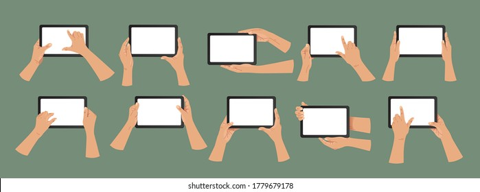 Hand holding tablet pc. Flat style. Hand illustration set. Modern vector hands holding tablet pc with white screen. Web, App design infographics. Trendy Flat Vector Illustration