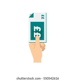 A hand holding a teal green stack of british pound bank notes vector illustration