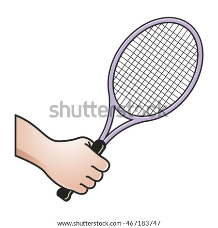 Hand Holding Tennis Racket Colorvector Drawing Stock Vector Royalty