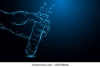 Hand Holding Test tubes form lines, triangles and particle style design. Illustration vector