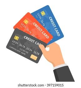 Hand holding three credit cards. Vector flat design illustration