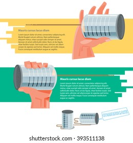 Hand holding tin cans to listening or talking together. communication concept - vector illustration