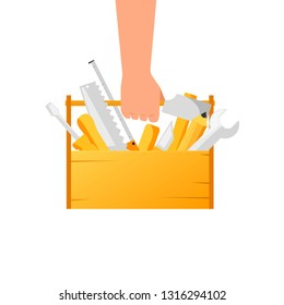 Hand holding toolbox with tools. Clipart image isolated on white background
