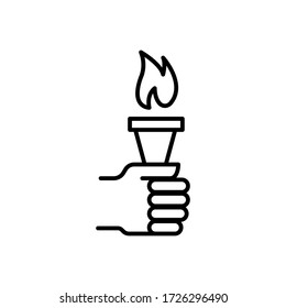 Hand holding torch logo icon