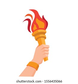hand holding torch symbol flat illustration vector design