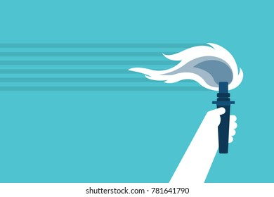 Hand holding torch - vector illustration