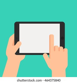 Hand  holding touch screen tablet on white background. Vector illustration.