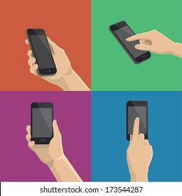 Hand holding and touching a smartphone