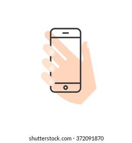 hand holding transparent smartphone vector concept. flat and line style
