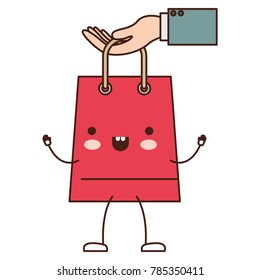 hand holding a trapezoid kawaii animated shopping bag in colorful silhouette