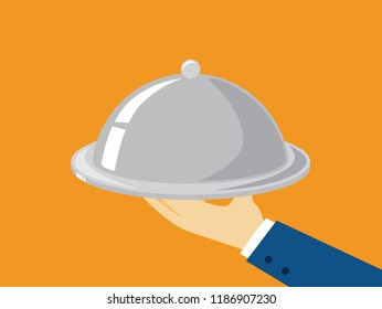 Hand holding tray with dish. Butler with platter. Catering concept. Restaurant luxury service. Flat vector illustration