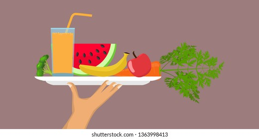 Hand holding tray with full of healthy food, salad, fruits, vegetables and glass of juice. Diet concept vector illustration.