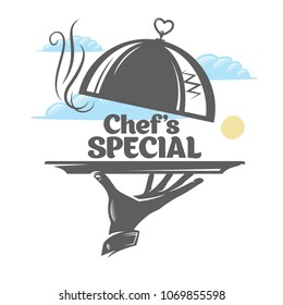 Hand holding a tray with a lid. Chef's special. Vector icon