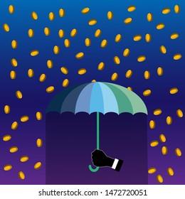 Hand holding umbrella under rain coins. Vector illustration flat design.