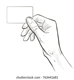 Hand holding virtual business card, credit card or blank paper. Vector sketch line illustration on white background.